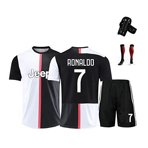 AELN Fußballtrikot-Set für Kinder-7# Ronaldo Professionelle technische Kleidung Athleten-Trikot Teenager-Sportbekleidung Mesh Schnelltrocknende Fans Sweatshirt-Black-XXS(140~150CM)