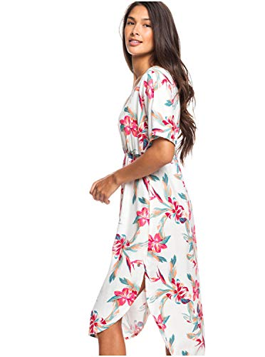 Roxy Flamingo Shades-Robe midi Manches Courtes pour Femme, Snow White Tropic Call, FR : M (Taille Fabricant : M)