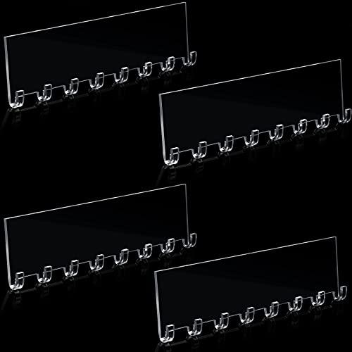 4 Piezas 10 1/2 Pulgadas Colgadores de Collares Organizador de Joyas de Acrílico Estante Colgante de Joyería Montado en Pared con 8 Ganchos para Collar, Pulsera