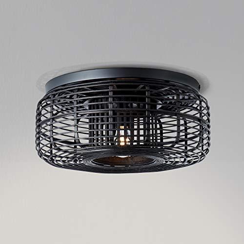 Lightbox Deckenleuchte, Bambus Deckenlampe dimmbar, Ø 45cm, E27 Fassung für max. 40 Watt Leuchtmittel, Metall/Bambus - Schwarz