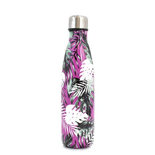 PAIDE P Botella de Agua en Acero Inoxidable.Sin BPA Doble pared Térmica Aislante, Bebidas Frías y Calientes, té, café. Ideal para Deporte, Oficina. Antigoteo. 500 ML.(Modelo 1 - Rosa)