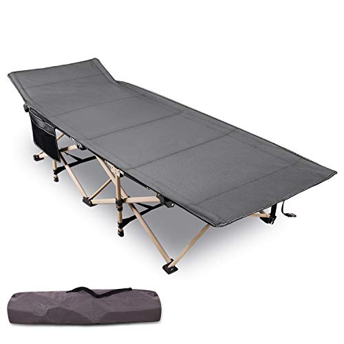 Varbucamp Folding Camping Cots for Adults, Updated Sturdy Steel Heavy Duty Sleeping Cots for Heavy People 500 Pounds, Portable with Carry Bag,Gray