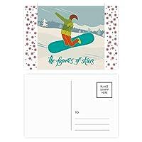 ウィンタースポーツはスキースキーボードのイラスト クリスマスの花葉書を20枚祝福する