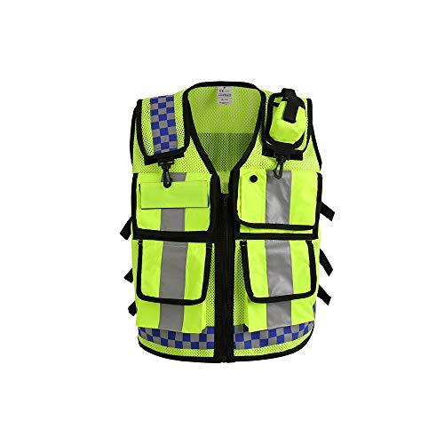 OWSOO Reflektierende Sicherheitsweste mit Taschen, Hohe Sichtbarkeit, Männer Frauen Atmungsaktive, Verkehrssichere Arbeitskleidung