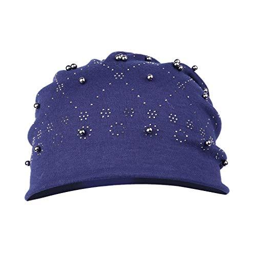 LOPILY Gorros de Punto Sencillo Casquillo al Aire Libre Nuevo Gorro de Taladro Sombrero de Pila De Señoras Moda Estilo Sombrero de Mujer y Hombre Color Sólido Sombreros(Armada)