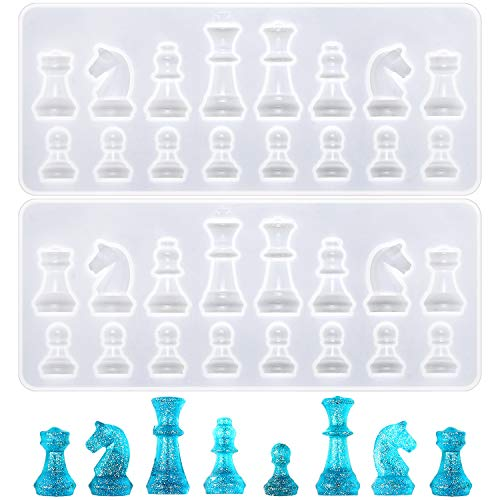 2Pcs Chess Piece Chocolate Candy Molds International Chess Silicone Mold Epoxy Resin Craft Casting Fondant Paper Clay Wax Melt Mold