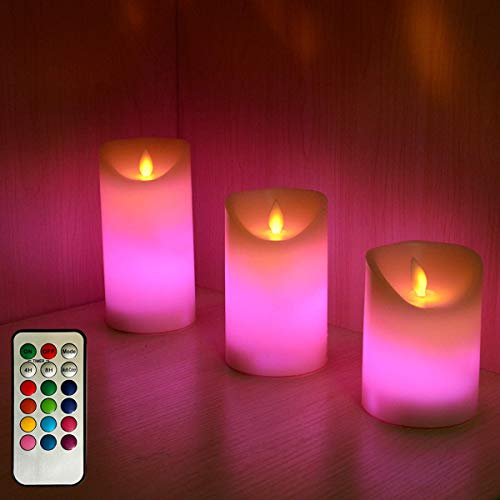 LED Candles Lights,Battery Operated Real Wax Remote Timer Warm White Plus Multicolor Indoor Flameless Candles,4' 5' 6' Set of 3 Unscented Moving Wick Flickering Candle Lights for Gift and Decoration