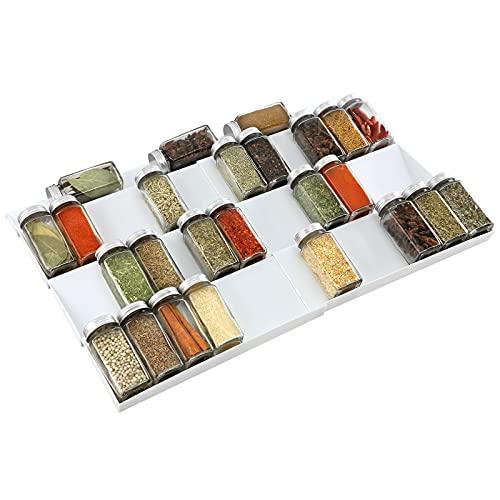 ionlyou Gewürzregal Gewürzhalter für Schubladen, von 30cm bis 60cm ausziehbar Schubladeneinsatz, Gewürzschublade mit vier Ebenen, Gewürzorganizer Gewürzeinsatz für verschiedene Breite von Schubladen