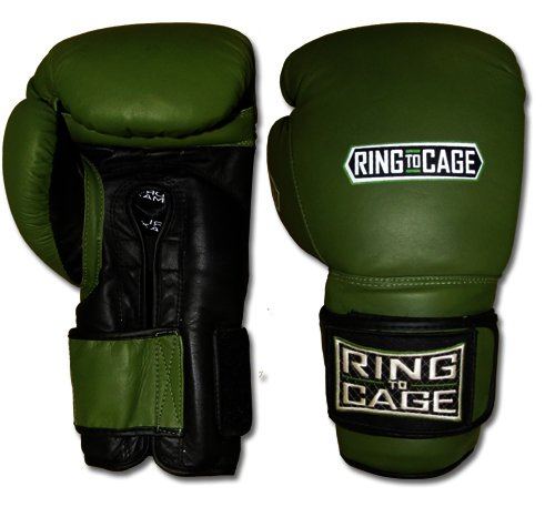 Ring to Cage 34oz Deluxe MiM-Foam Sparring Gloves - Safety Strap for Muay Thai, MMA, Kickboxing, Boxing (Marine Green/Black)