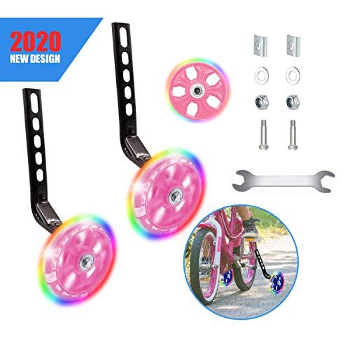 Happylohas ruedines Bicicleta Infantil, Entrenamiento ruedines niños con luz LED, Ruedas estabilizadoras, para Todas Las Bicicletas de 12 a 20 Pulgadas ((1 par-Blanco))