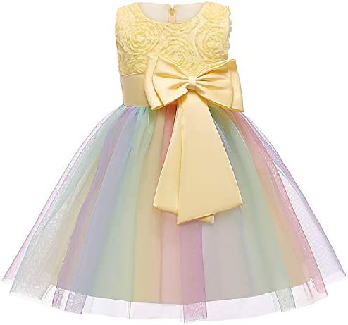 JerrisApparel Flower Girl Floral Dress Rainbow Tutu Party Dress Pageant Gown Yellow 4T product image