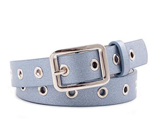 Leder-Qualitäts-Gurt-Legierung Voll Loch Studenten Hose Gürtel (Farbe : Blau)