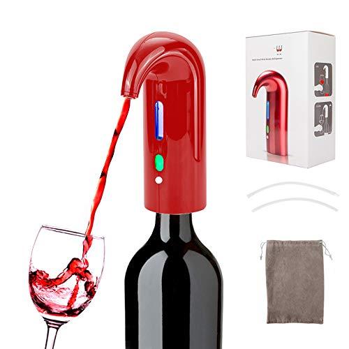 Juanya - Aeratore di vino elettrico, distributore automatico multifunzione, ricaricabile tramite USB, decanter per vino, rosso e bianco, regalo per amanti del vino (rosso)