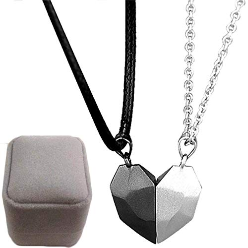 KFGJ Black White Minimalist Couple Necklace,Heart Magnetic Necklace Fastener, Wishing Stone Magnetic Bff Necklace, Fashion Jewelry Lovers Gift White