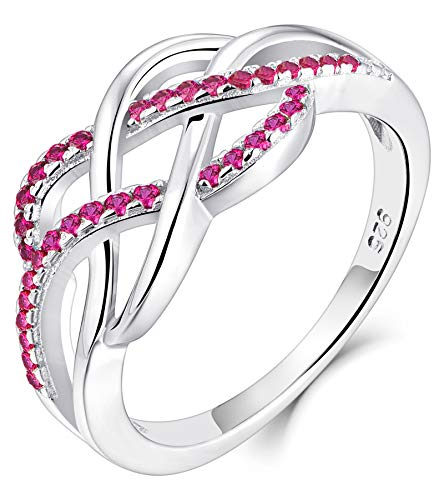 YL Celtic Knot Rings 925 Sterling Silver Twisted Knot Ring 18k White Gold Plated Created Ruby Infinity Statement Rings