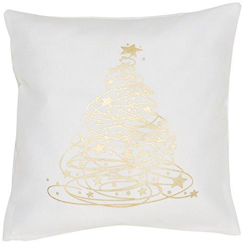 Eurofirany Cushion Cover Couch Cushion Sofa Cushion Bed Cushion Room Decoration Elegant Exclusive Christmas Gold Polyester White 40 x 40 cm