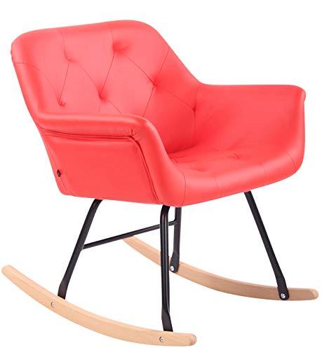 CLP Schaukelstuhl Cabot mit Kunstlederbezug I Schaukelsessel mit Metallgestell I Relaxsessel mit Kufen I Schwingstuhl I Sitzhöhe: 45 cm, Farbe:rot