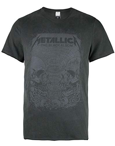 Amplified Herren Metallica-The Black Album T-Shirt, Grau (Charcoal Cc), M