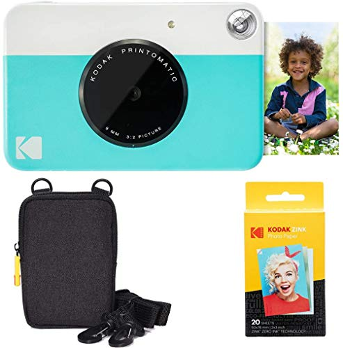 Kodak Printomatic Instant Camera (Blue) Basic Bundle + Zink Paper (20 Sheets) + Deluxe Case + Comfortable Neck Strap AMZRODOMATICK1BL