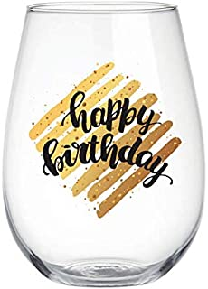 Happy Birthday 22 oz Stemless Wine Glass, Gold Black elegant design, Perfect Birthday Gift, Anniversary Gift, Adult Ceremony For Wife, Husband, Mom, Dad, Girlfriend, Boyfriend, Friend