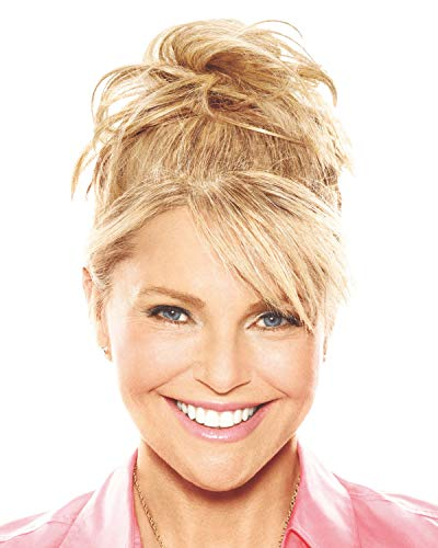 """Natural Tone Hair Wrap Color HT25 Med Golden Blonde - Christie Brinkley 6"""" Overall Length Heat Friendly Textured Hairpiece Fun Bun Chignon Florida"""