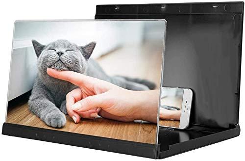 Byged Lente d Ingrandimento Universale per Schermo da 14 per Smartphone, Schermo per Proiettore 3D per Telefono Cellulare Schermo per Film Video Gioco con Staffa Pieghevole(Nero)