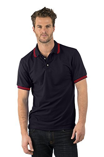 Bruntwood Prime Liseré Polo Chemise - Premium Tipped Polo - Homme & Femme - 220GSM - Polyester/Coton (Noir/Rouge, XL)