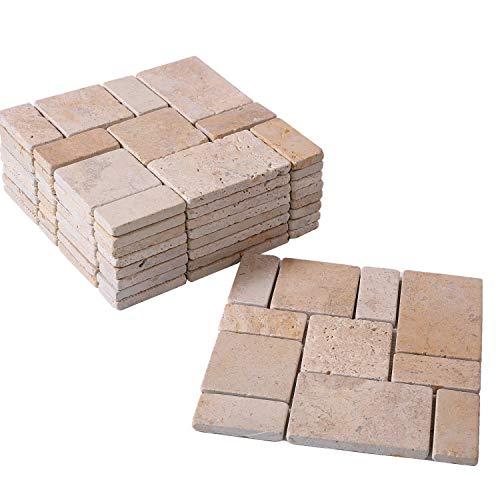 BodenMax TPA-ROMA mosaico in pietra naturale mediterranea travertino incollato su rete Resistente al gelo per pareti interne ed esterne o pavimento beige crema 9 pannelli (circa 0,81 mq)