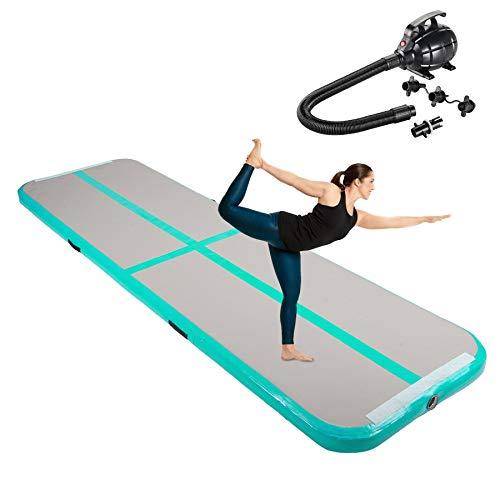 Z ZELUS Tappetino da Ginnastica Gonfiabile in PVC Air Track Pista Tumbling Materassino Aria Fitness per Yoga Taekwondo con Pompa d'Aria (Verde 300x100x10cm)