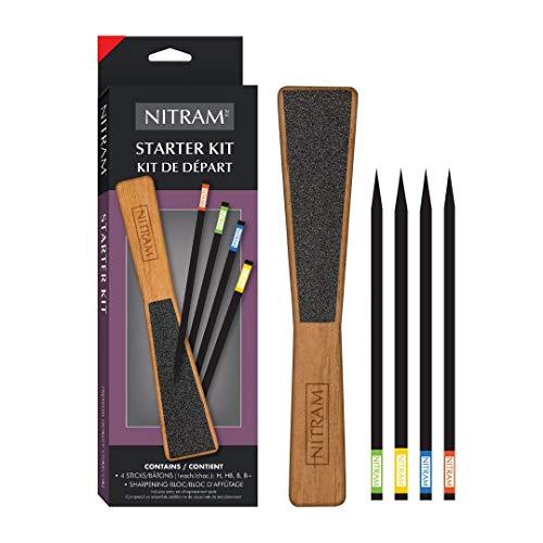 Nitram Starter Kit con 4 carboncillos y una piedra para lijar, carbón, no