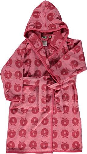 Smafolk Frottee Bademantel rosa mit Äpfeln 134-140