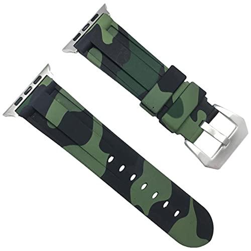 Para Apple Watch Series SE 6 5 4 40 / 44mm Pulsera Camuflaje Sport Watch Band Correa de muñeca de silicona suave para Apple iWatch Series 3