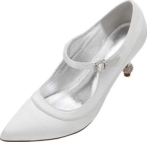 Zapatos de tacón con diamantes de imitación para mujer, con hebilla de boda, color Plateado, talla 38 EU