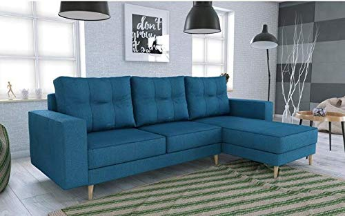 Canapé d'angle 2 places Bleu Scandinave