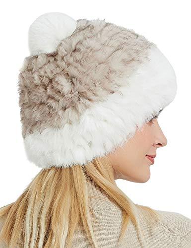 clasificación y comparación Zbrandy Gorro de invierno para mujer hecho de piel de conejo beige beige M. para casa