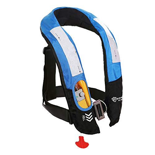 Eyson Inflatable Life Jacket Life Vest Highly Visible Manual for Adults (Blue)