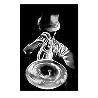 """キャンバスピクチャーマンプレイ楽器ブラックホワイトポスターとプリントアートワークウォールアートリビングルーム寝室の装飾15.7"""" x23.6""""(40x60cm)フレームレス"""