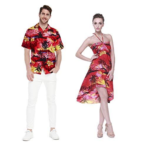 Hawaii Hangover Pareja Juego Hawaiano Luau Fiesta Traje Conjunto Camisa Vestido en Puesta de Sol Rojo Hombres L Mujer S