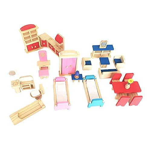 SunniMix Coloridos Muebles de casa de muñecas de Madera Sala de Estar Comedor Dormitorio Cocina casa Muebles Accesorios Juego de simulación Juguete