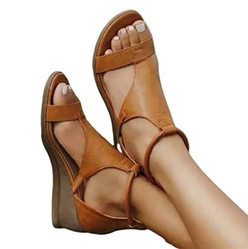 WODETIAN Sandalias de Plataforma para Mujer Sandalias de Piel Sintética con Cuña de Verano Resbalón de Verano en Sandalias de Cuña Baja y Ligera Zapato Sandalias Transpirables,Marrón,42