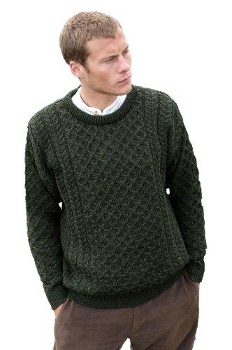 Aran Crafts Men's Merino Wool Crew Neck Sweater L Army Green