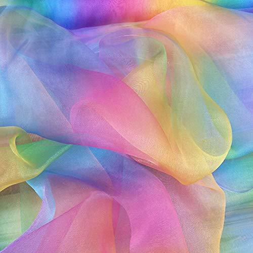 Discover Lifestyle & Fashion Fabrics Regenbogen-Organza-Stoff für Kinder, 150 cm breit, Meterware