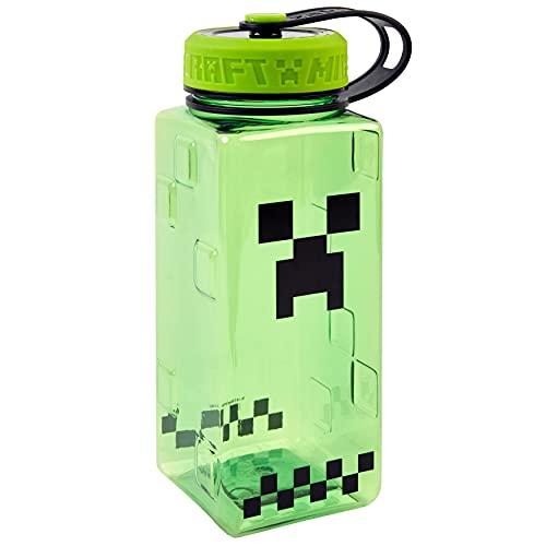 Minecraft Tritan-Trinkflasche, BPA-frei, für Kinder und Erwachsene, Unisex, langlebig, Sport, tragbar, wiederverwendbar, auslaufsicher, 100 ml, Titan, Einheitsgröße