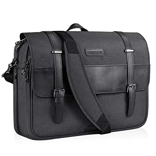KROSER Laptop Tasche 15,6 Zoll Laptop Aktentasche Messenger Bag wasserabweisend Stilvolle Flapover Computer Case Schultertasche für Schule/Business/Damen/Herren-Kohle Schwarz MEHRWEG