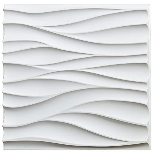 Art3d - Panel de pared de PVC ondulado en 3D,50x50cm, con cubierta blanca mate de 3m², para decoración de paredes interiores en sala de estar, dormitorio, vestíbulo, oficina, centro comercia