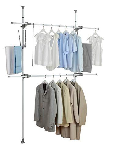 WENKO Herkules Flex Garment Rack, Rail, Adjustable, Tension Rod, Heavy Duty, for Hanging Clothes, Storage, Organizer, with Shelves, 14.2 x 74.8 x 118.1 inch, White