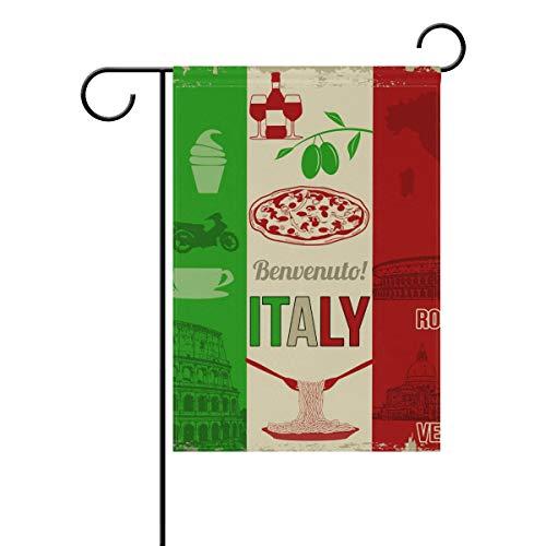 Garden Bandiera Italia Elements Food Building 30,5x 45,7cm (30,5x 45,7cm) Banner Doppio per Lawn Yard Outdoor Decoration, Poliestere, Image 251, 12x18(in)