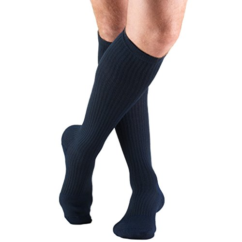 Truform Compression Socks, 15-20 mmHg, Men's Gym Socks, Knee High Over Calf Length, Navy, Large