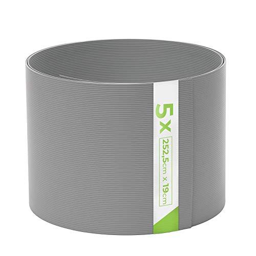 TerraUno - Premium Hart PVC Sichtschutzstreifen für Doppelstabmatten - 5 Stück für Gartenzaun I 2,525mx19cm I Grau I Sichtschutz für den Zaun