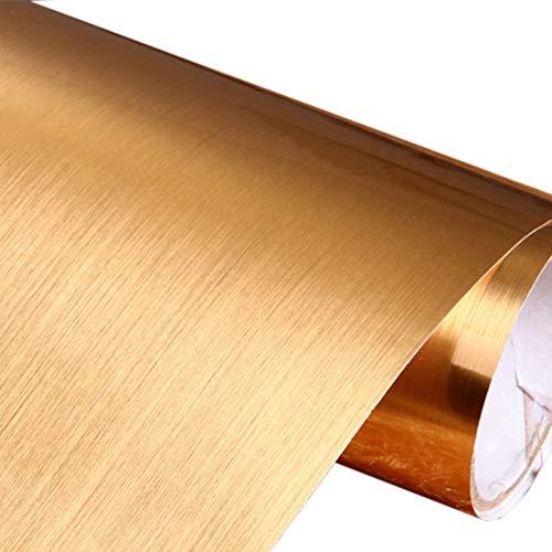 Ta bort och klistra fast borstad metall kontaktpapper självhäftande vinylfilm hyllfoder för att täcka backsplash ugn diskmaskin skafferi apparater (60 cm x 3 m, guld)